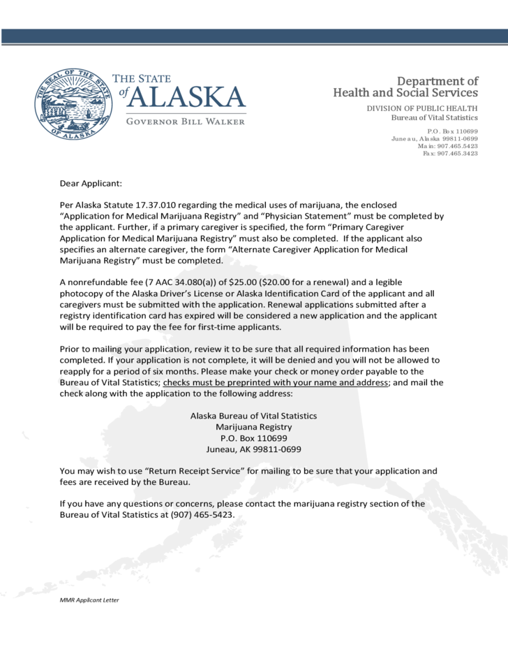 Medical Marijuana Registry Application Form Alaska Free