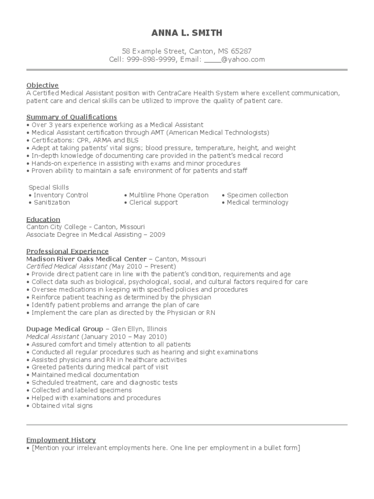 medical assistant resume template 2 free templates in pdf word