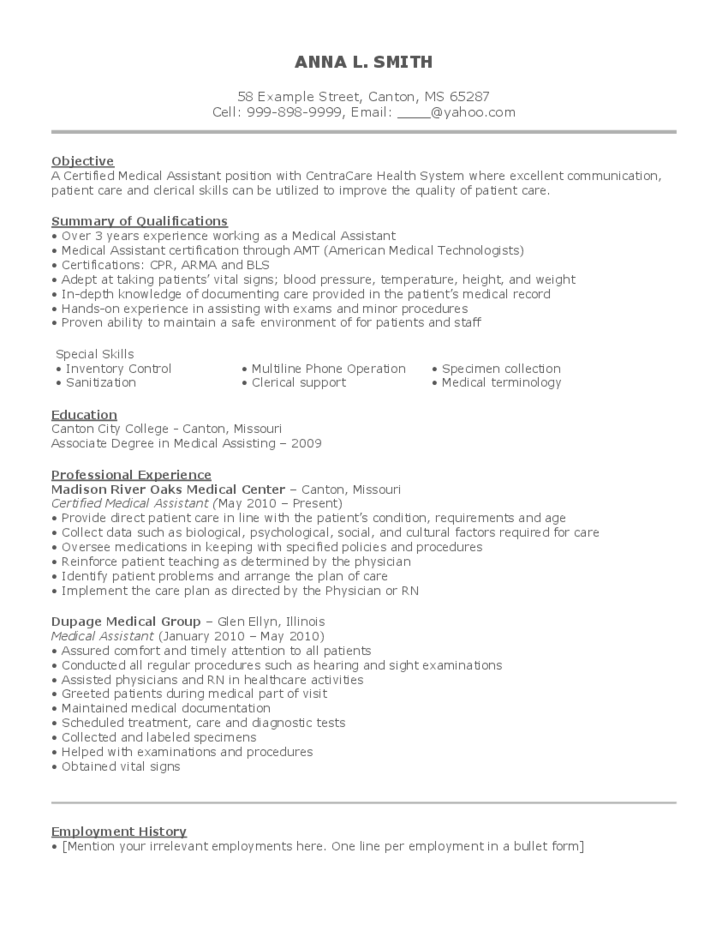 Medical Assistant Resume Example Free Download