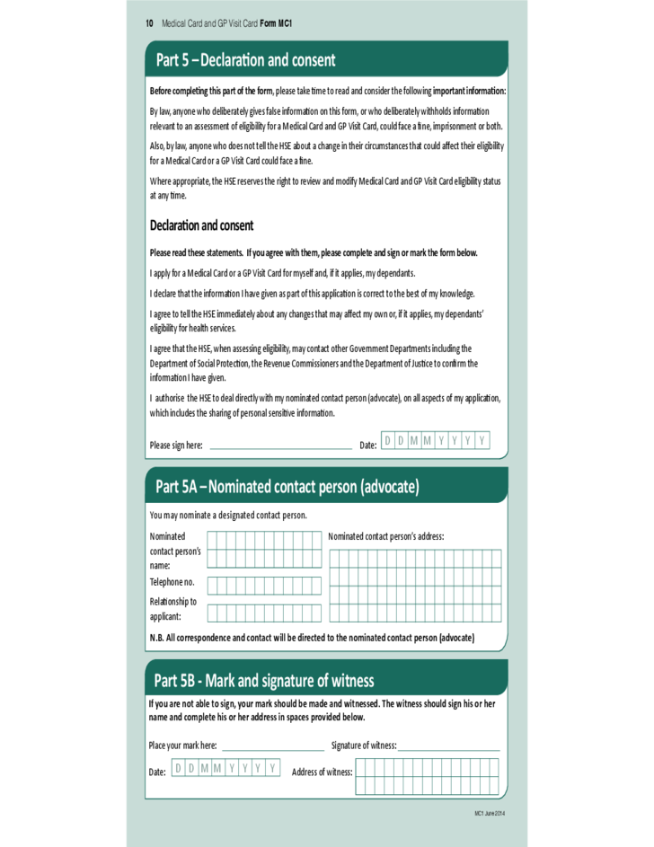Medical Card and GP Visit Card Application Form - Dublin Free Download