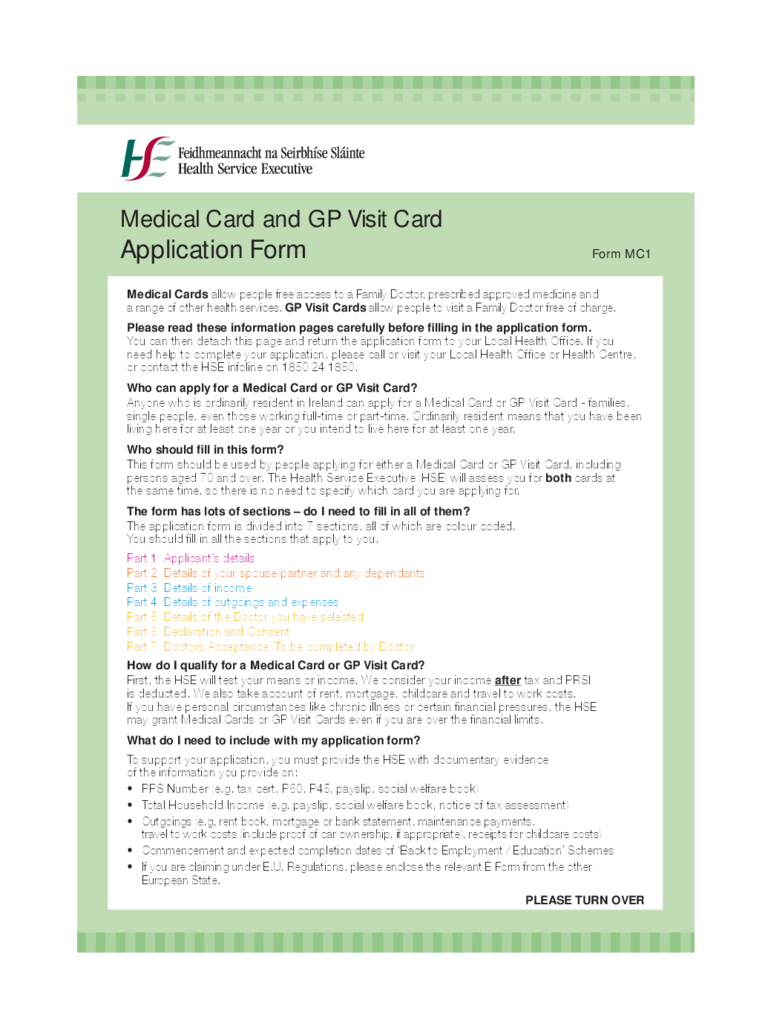 Medical Card And GP Visit Card Application Form   Health Service Executive  Free Download