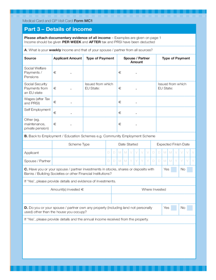 Medical Card and GP Visit Card Application Form - Health Service Executive