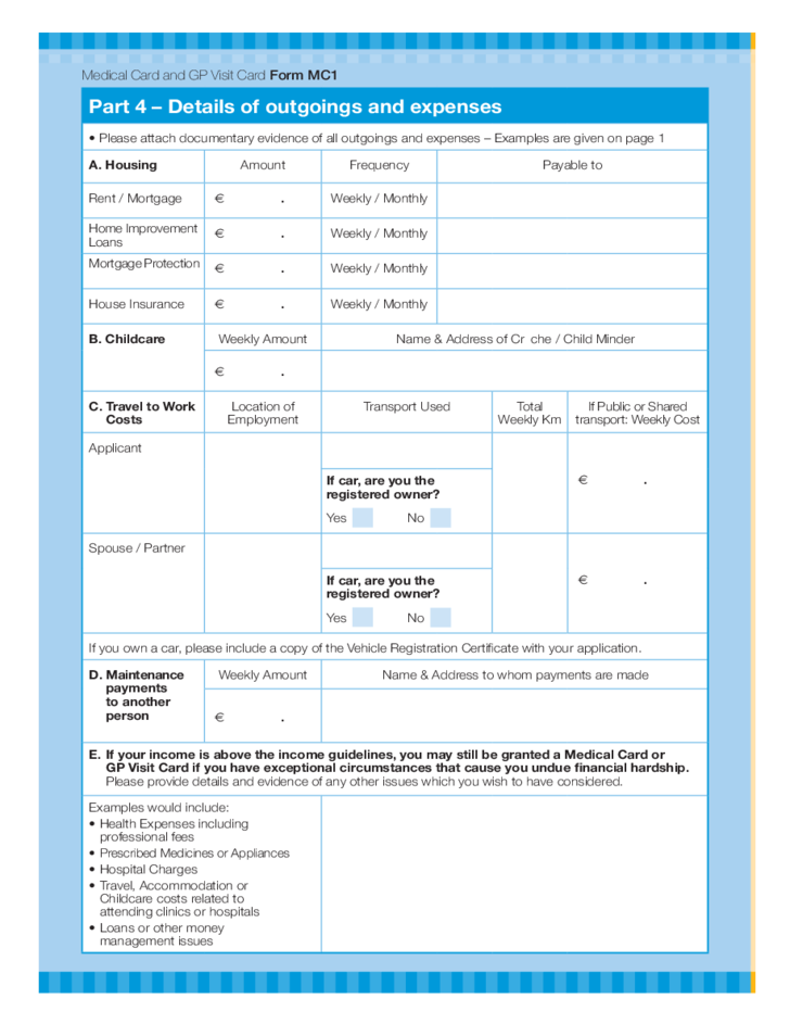 Medical Card and GP Visit Card Application Form - Health Service ...