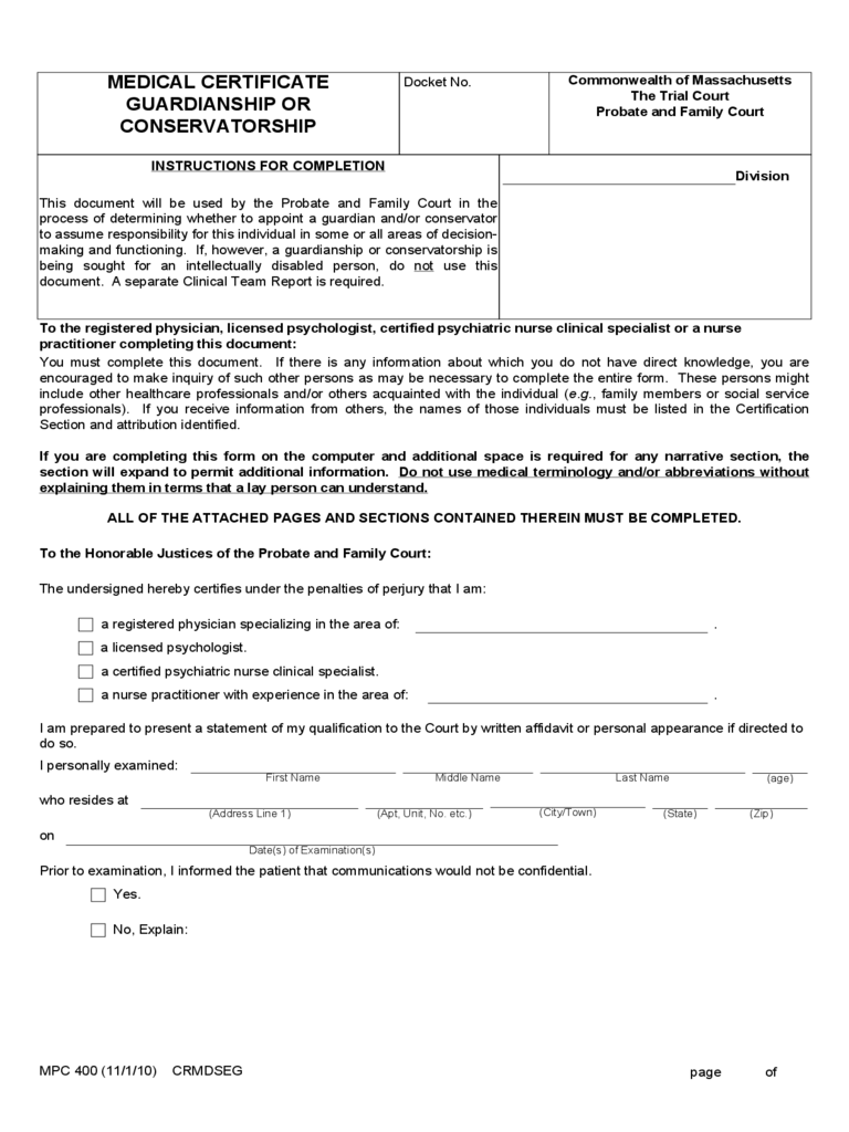Medical Certificate Guardianship or Conservatorship Form