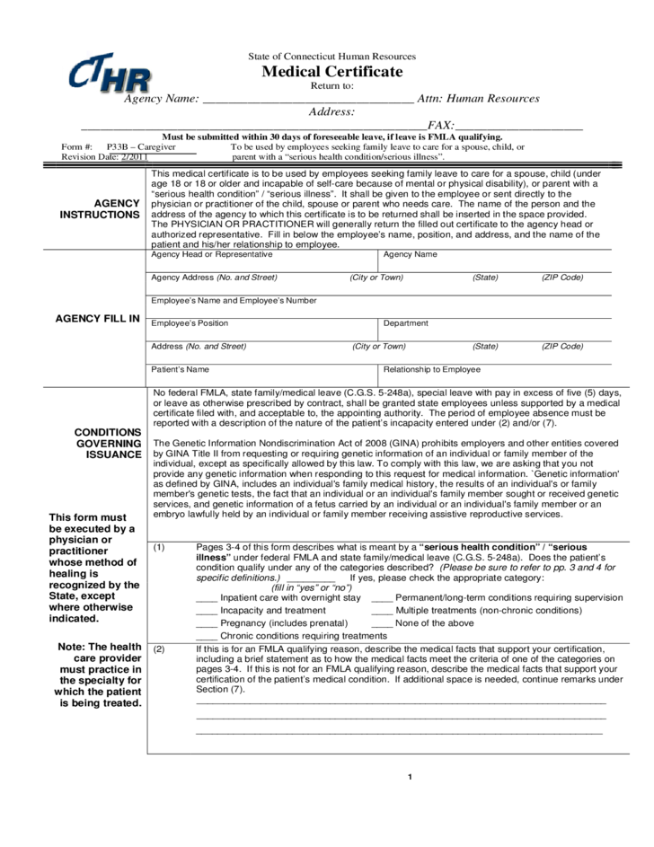 1 Medical Certificate Form   Connecticut  Free Medical Certificate