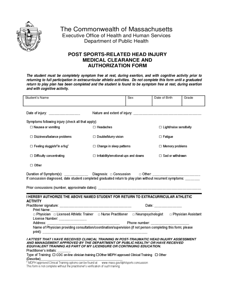 Post Sports-Related Head Injury Medical Clearance and Authorization Form - Massachusetts