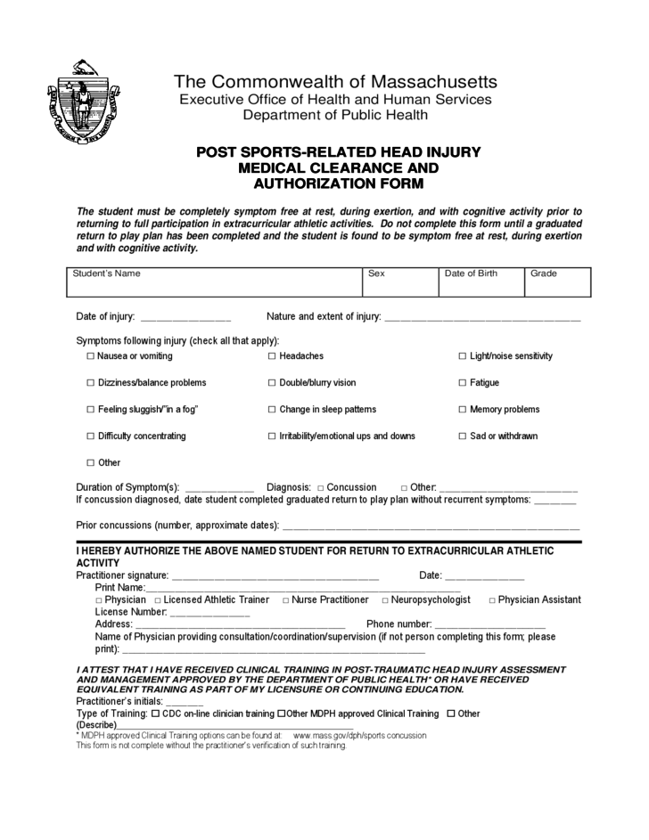 1 Post Sports Related Head Injury Medical Clearance And Authorization Form    Massachusetts
