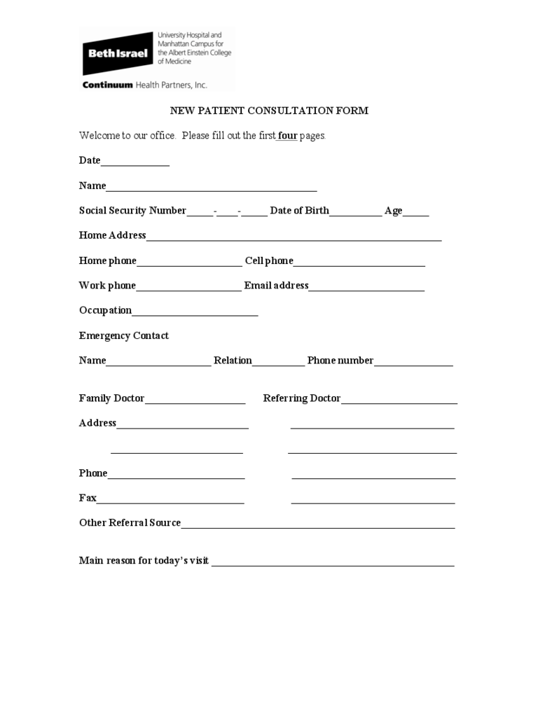 Medical Consultation Form 2 Free Templates in PDF Word Excel – Medical Consultation Form