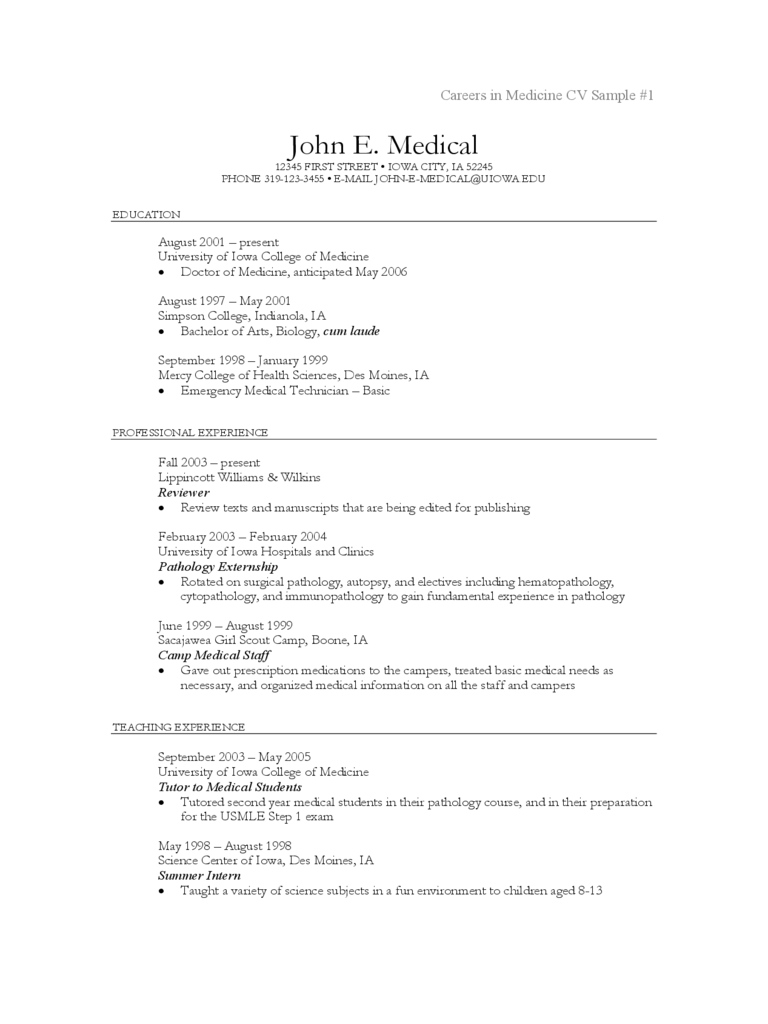 cv sample for medical doctors