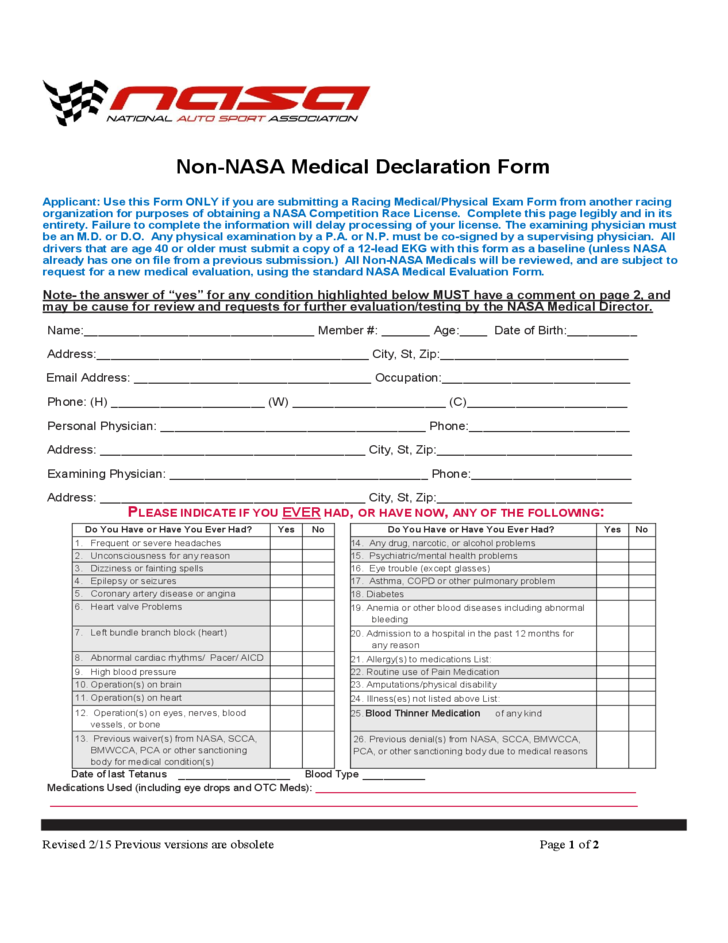 Non-NASA Medical Declaration Form Free Download