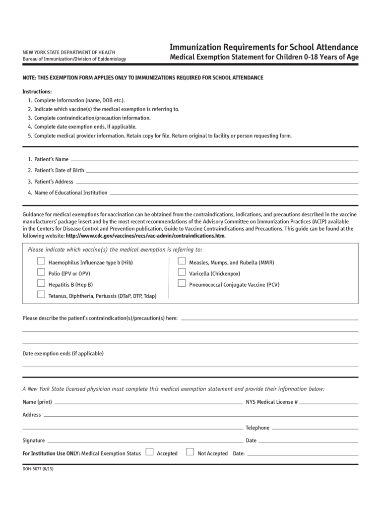 medical exemption form