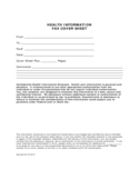 Health Information Fax Cover Sheet Free Download