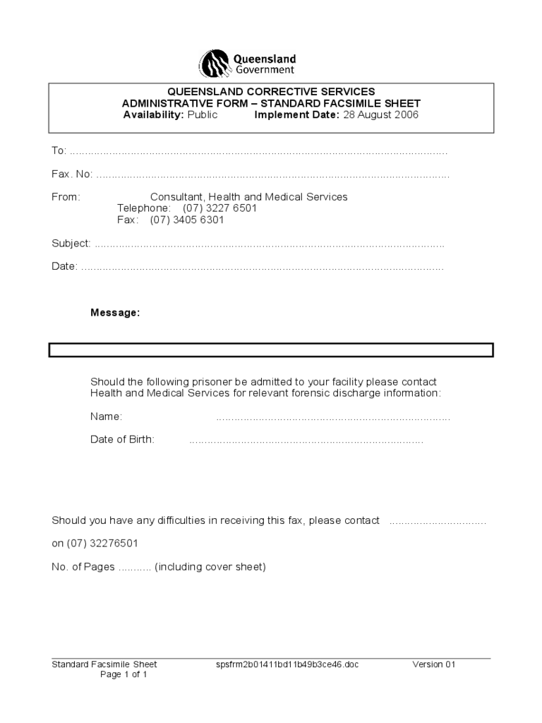 Health and Medical Fax Cover Form - Queensland