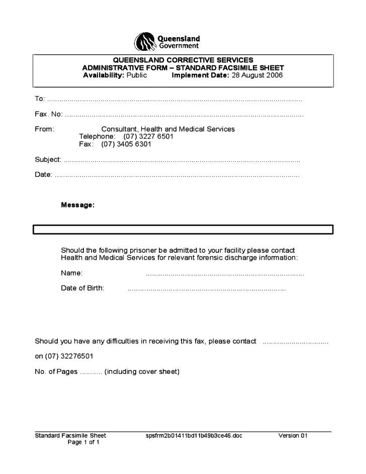 health and medical fax cover form