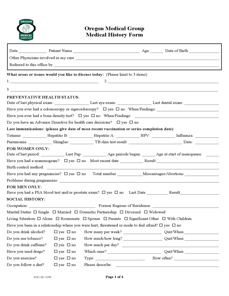 1 Medical Group History Form