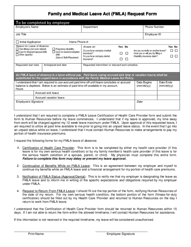 Family And Medical Leave Act Fmla Request Form Free Download