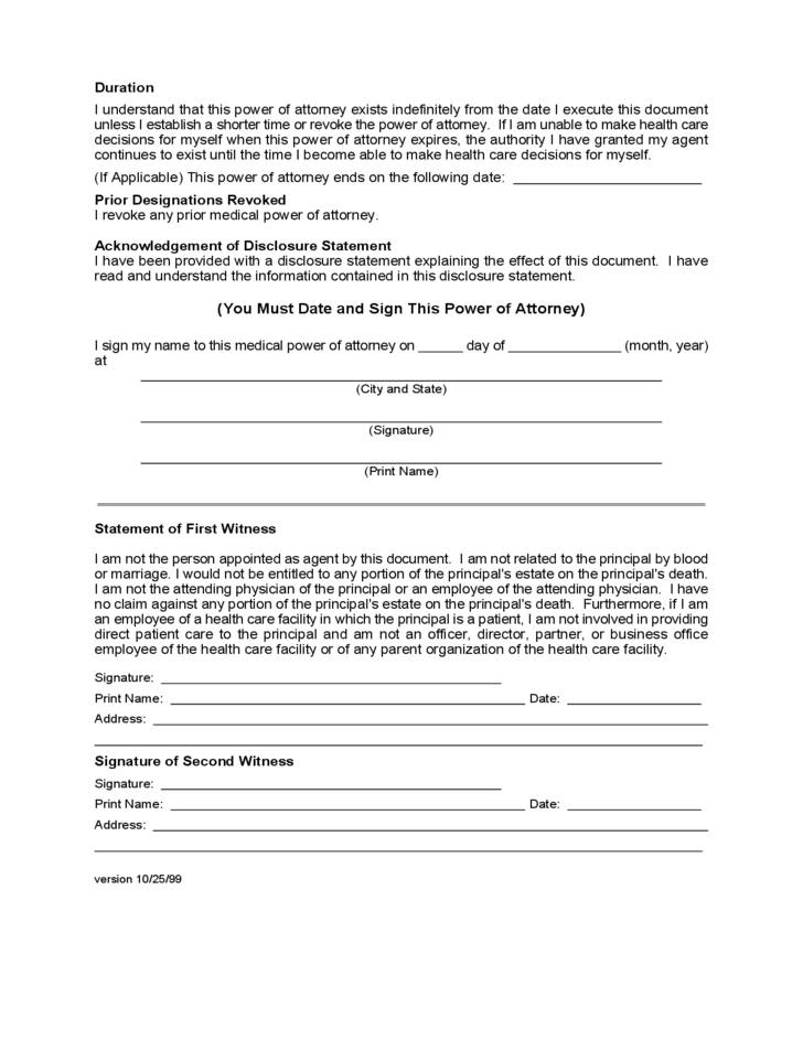 Disclosure Statement for Medical Power of Attorney