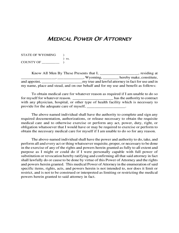 Medical Power of Attorney Form - Wyoming