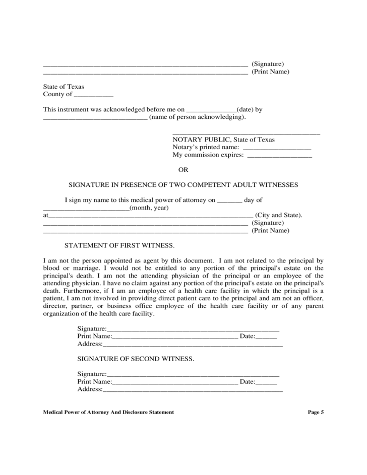 Medical Power of Attorney And Disclosure Statement - Texas