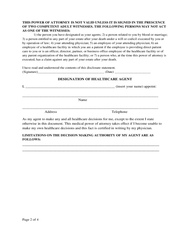 Medical Power of Attorney Form - Texas
