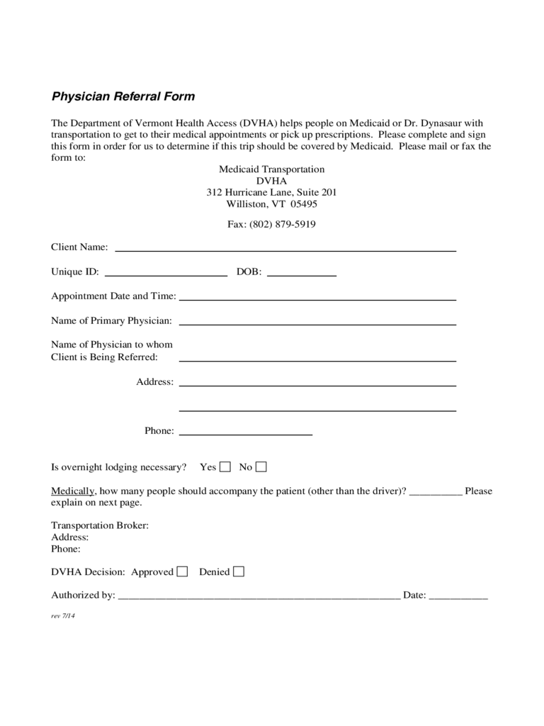 physician referral form vermont