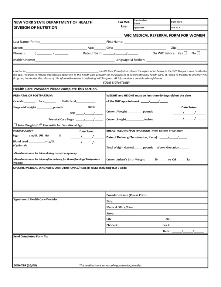 Wic medical referral form for women new york free download for Referral document template