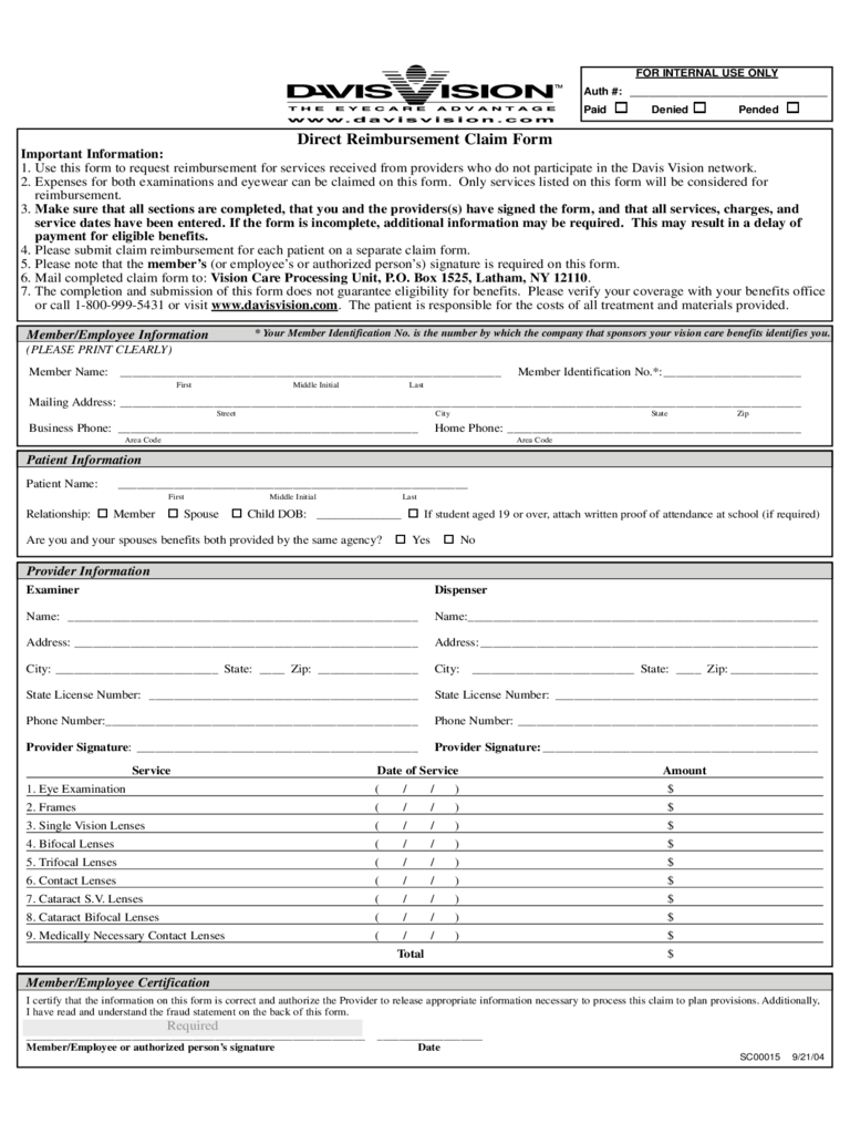 Direct Reimbursement Calim Form - University of Virginia