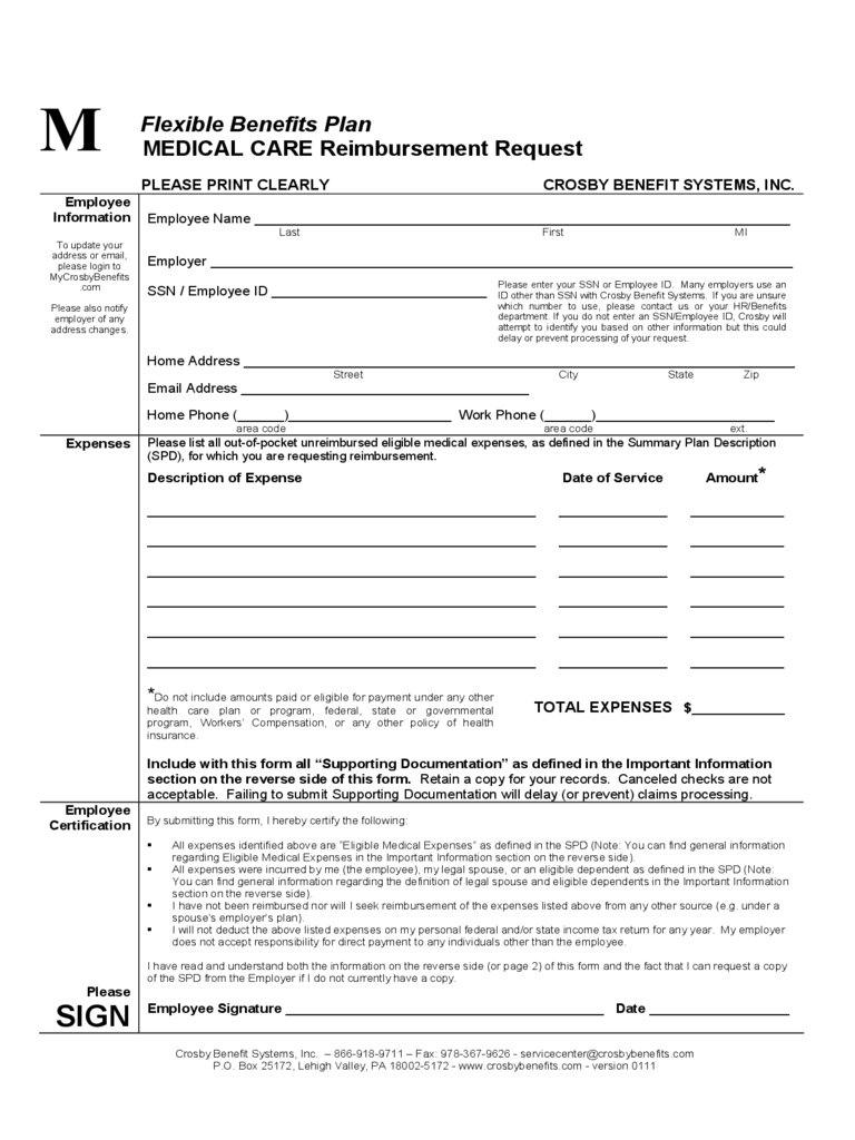 Medical Care Reimbursement Request - Dartmouth College