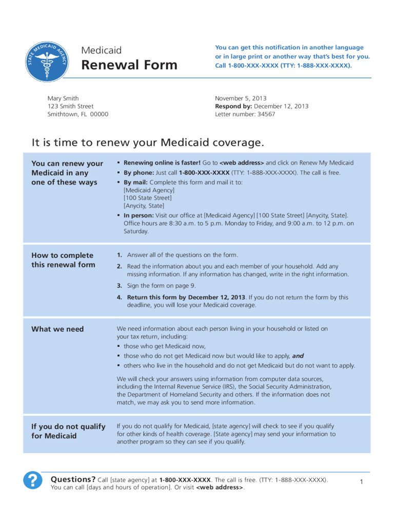 Model Medicaid Renewal Form