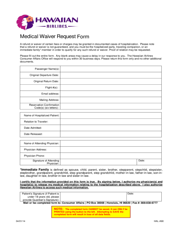 Medical Waiver Form - Hawaii