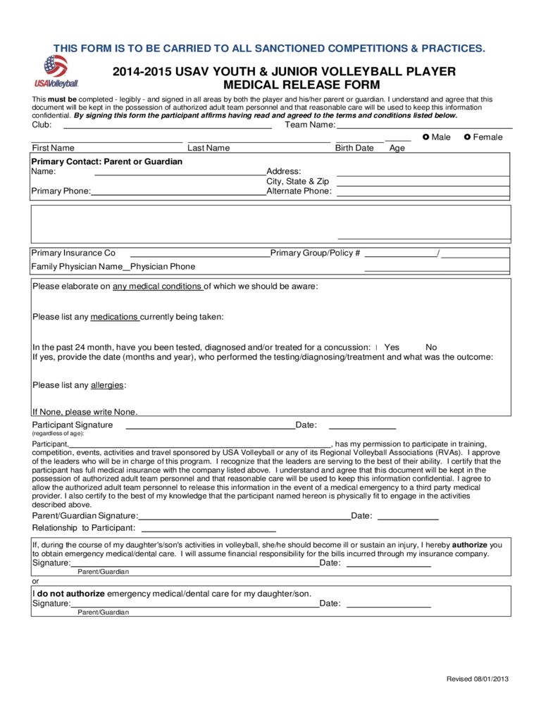 Youth and Junior Volleyball Player Medical Release Form