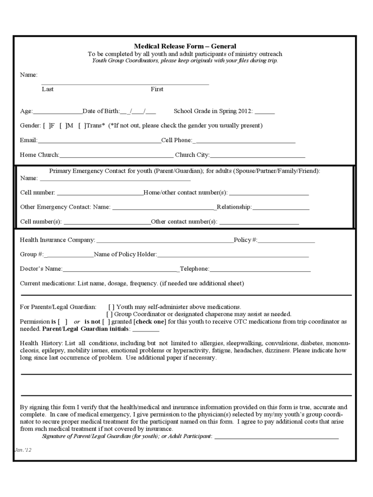 Medical Release Form Free Download  Free Liability Waiver