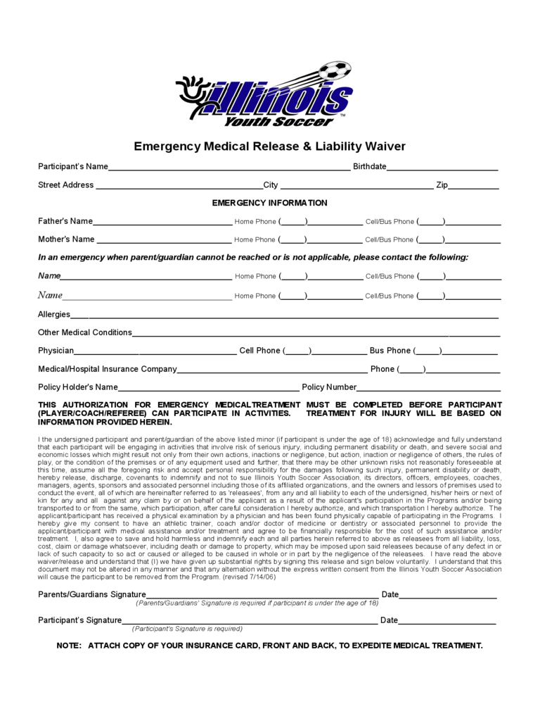 Medical Waiver Form - Illinois