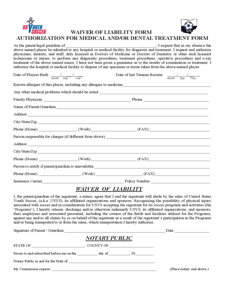 Medical Waiver Form Ohio Free Download