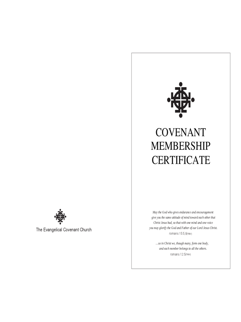 Covenant Membership Certificate