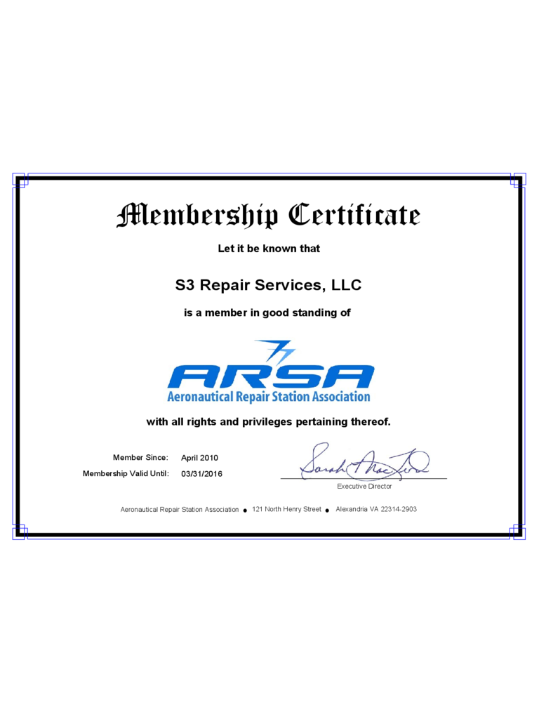 Example of Membership Certificate