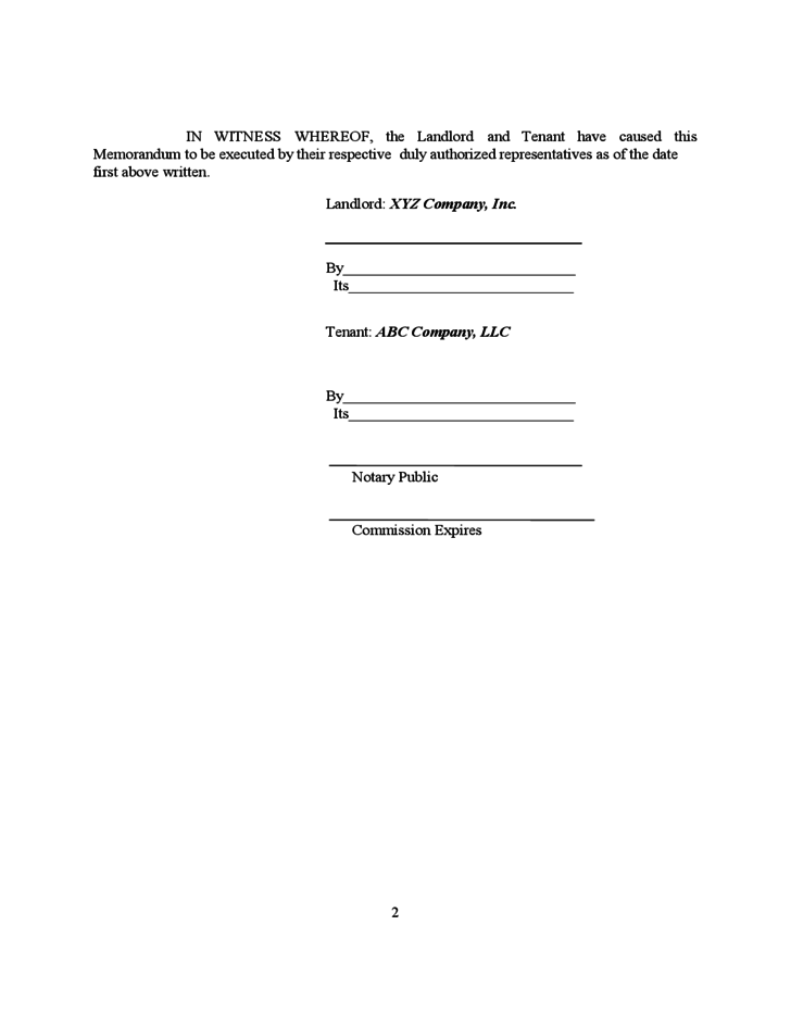 Simple Memorandum of Lease Agreement Free Download