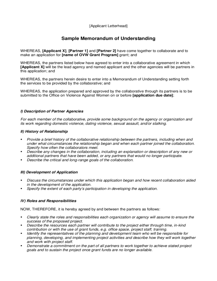 Sample Memorandum Of Understanding Free Download