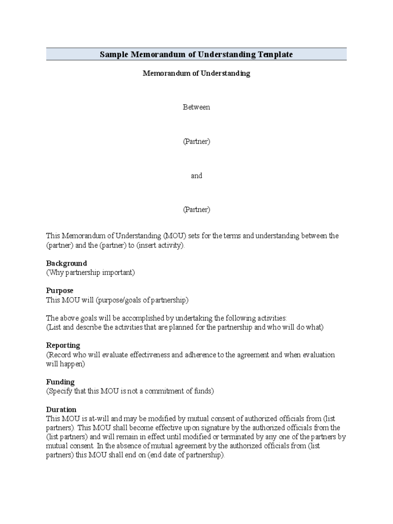 Memorandum Sample Memorandum Of Understanding Templates In Pdf Word
