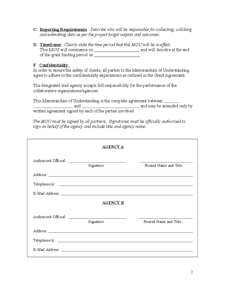 Memorandum of understanding sample format and content free for Template for a memorandum of understanding