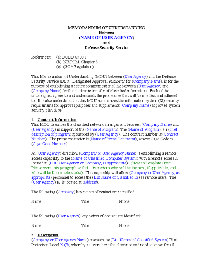 Memorandum of understanding template free download for Template for a memorandum of understanding