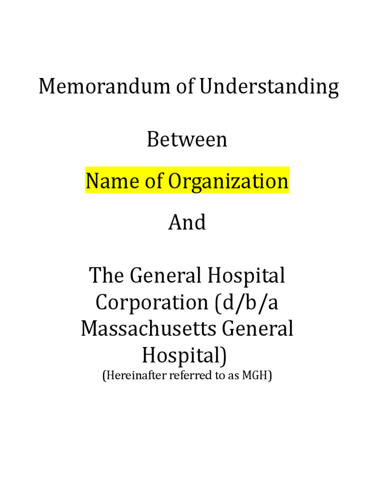 Memorandum Of Understanding Example Free Download  Memo Template Word