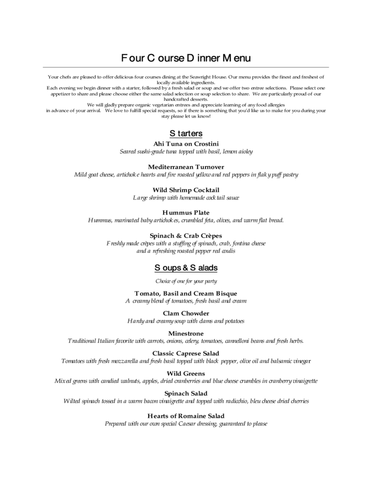 four course menu card template free download