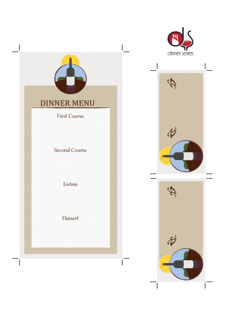 Four Course Menu Card Template with Place Cards