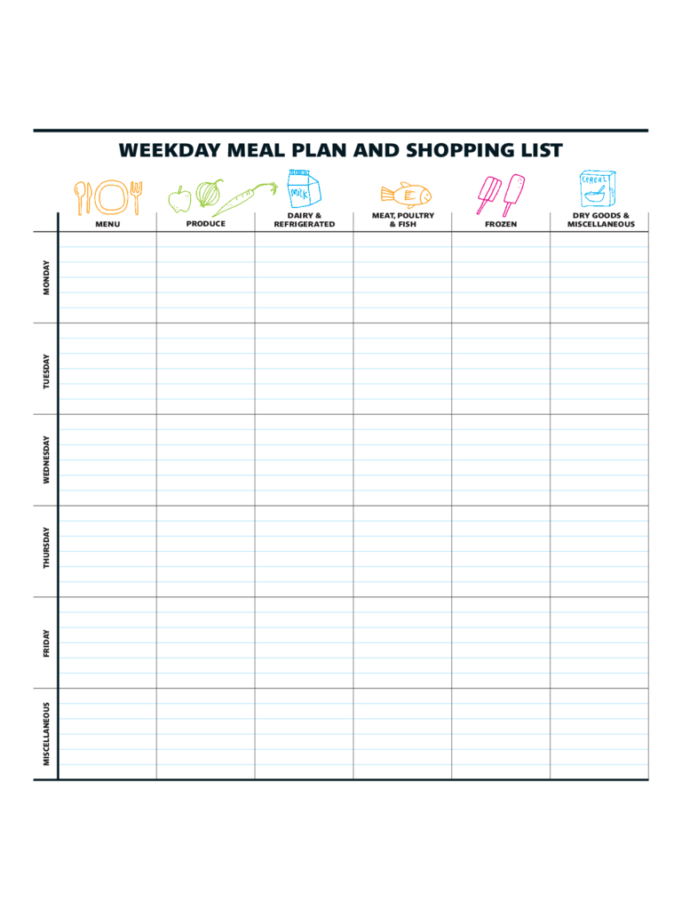 Weekly Meal Plan And Shopping list