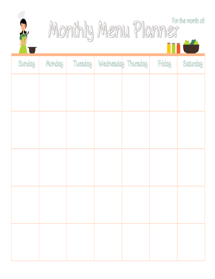 Monthly meal plan calendar free download for Monthly dinner calendar template