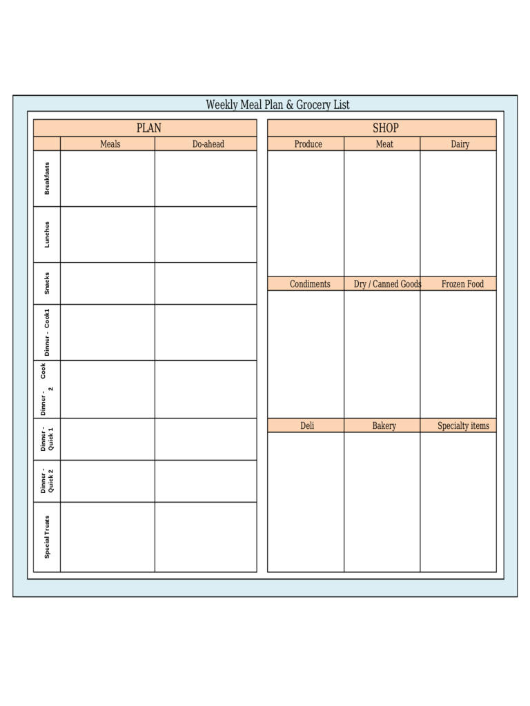 Weekly Menu Template Pdf