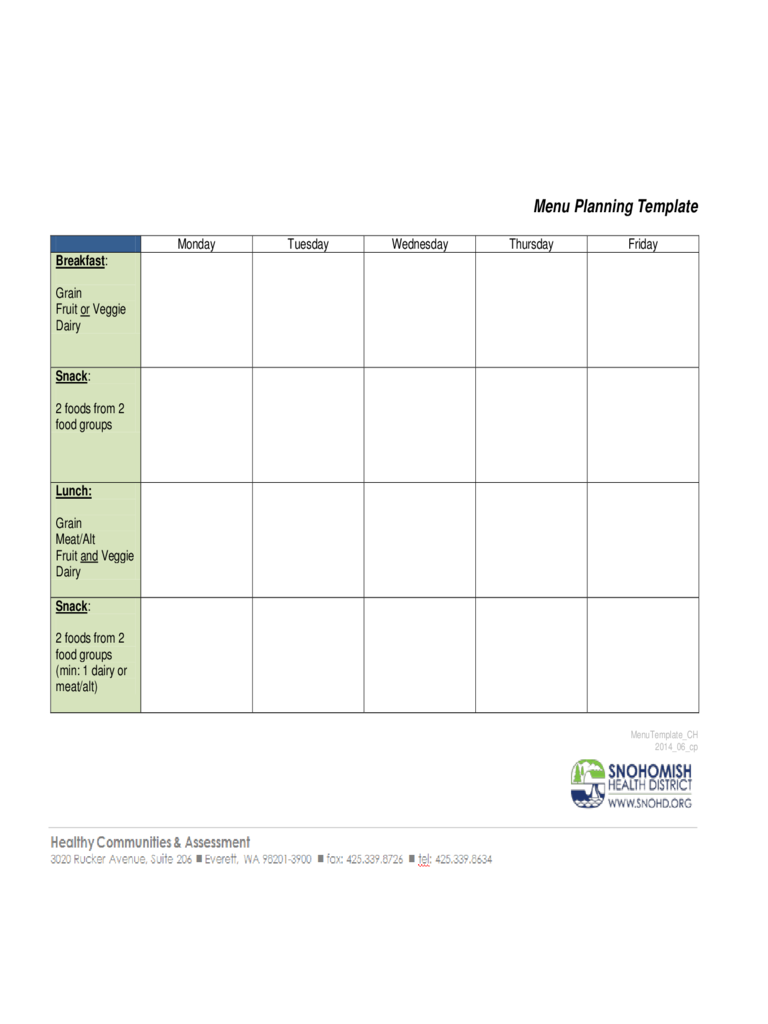 Sample Menu Planning Template