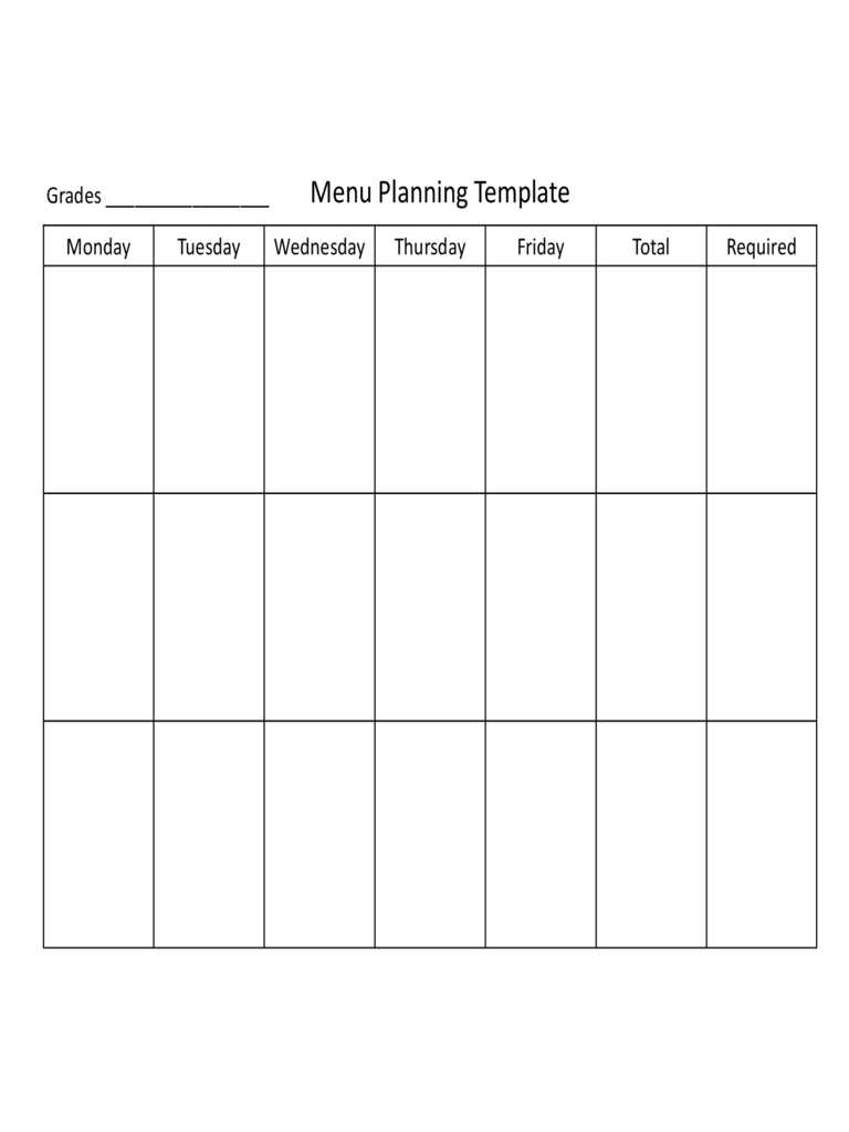 Basic Menu Planning Template