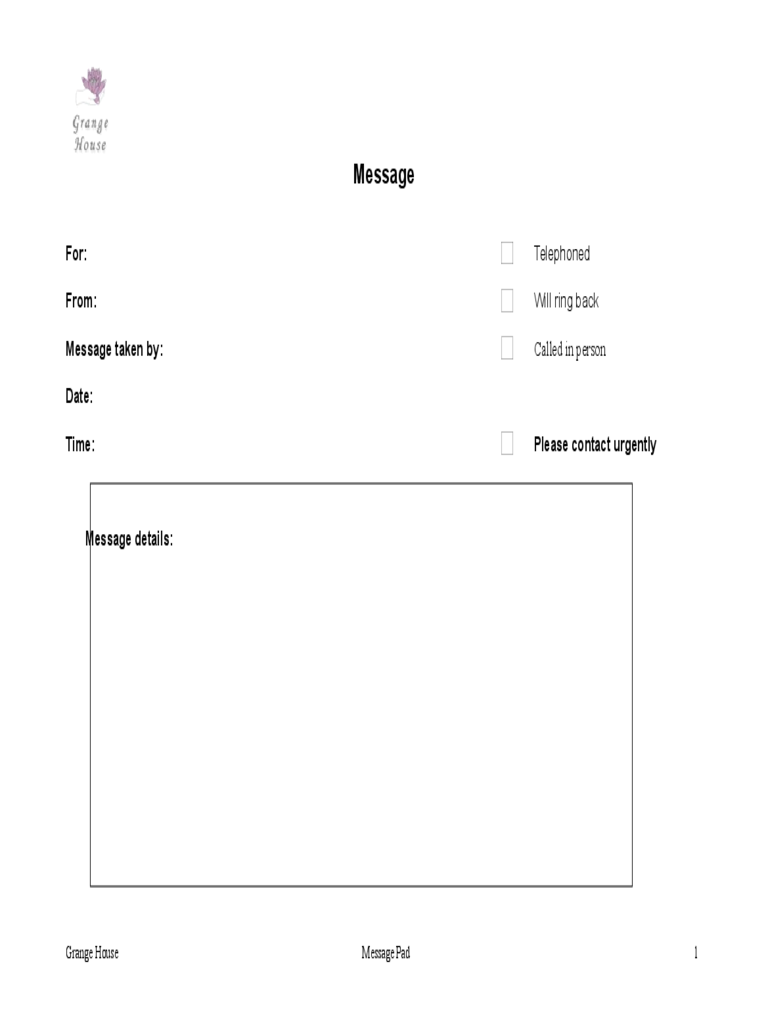 Sample Message Pad Template